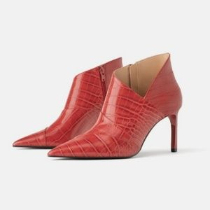 Zara red cut out booties
